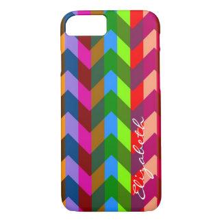 Colorful Chevron Retro Stripes Monogram #11 iPhone 8/7 Case