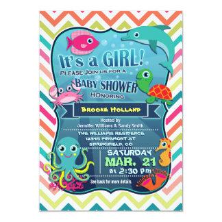 "Colorful Chevron Sea Life, Girl Baby Shower 5"" X 7"" Invitation Card"