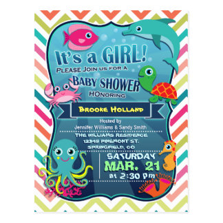 Colorful Chevron Sea Life, Girl Baby Shower Postcard