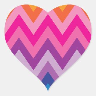 Colorful Chevron Heart Sticker