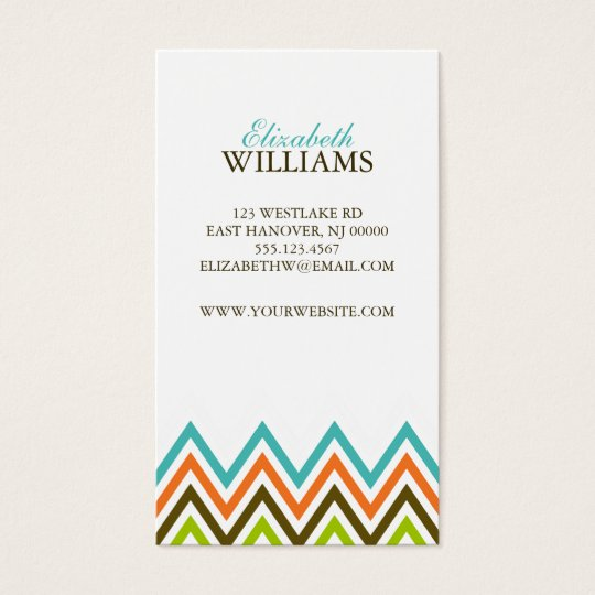 Colorful Chevron Stripes Business Card
