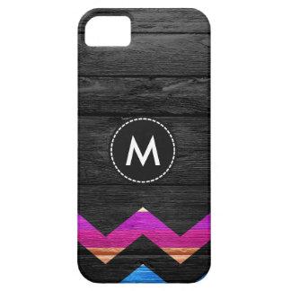 Colorful Chevron Stripes On Wood #11 iPhone SE/5/5s Case