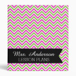 Colorful Chevron Teacher Lesson Plan 3 Ring Binders