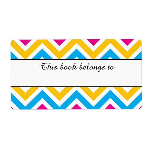 """Colorful Chevron """"This Book Belongs To"""" Labels 