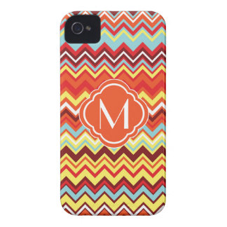 Colorful Chevron Zig Zag Pattern with Monogram iPhone 4 Covers