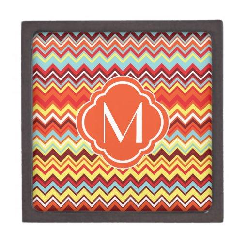 Colorful Chevron Zig Zag Pattern with Monogram Premium Trinket Boxes