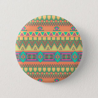Colorful Chevron Zig Zag Tribal Aztec Ikat Pattern Button