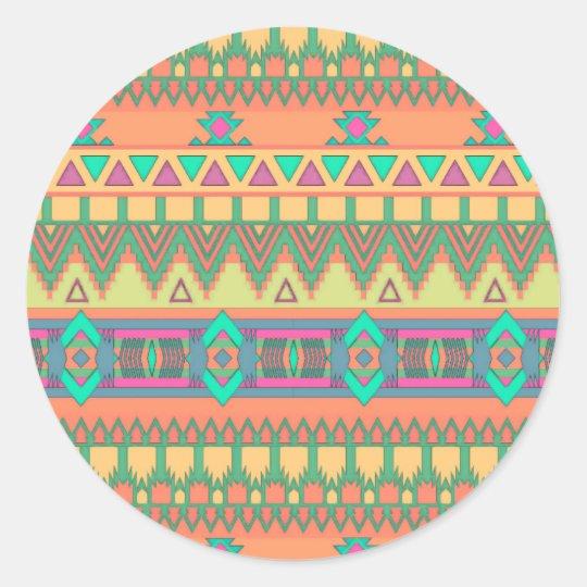 Colorful Chevron Zig Zag Tribal Aztec Ikat Pattern Classic Round Sticker