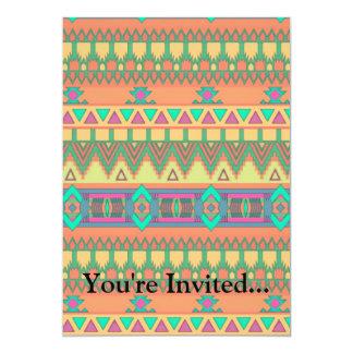 "Colorful Chevron Zig Zag Tribal Aztec Ikat Pattern 5"" X 7"" Invitation Card"