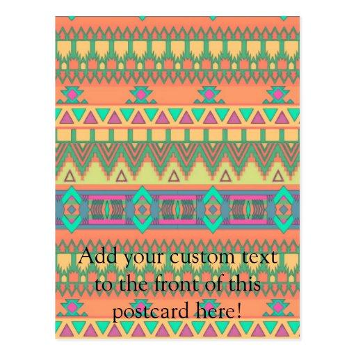 Colorful Chevron Zig Zag Tribal Aztec Ikat Pattern Postcard