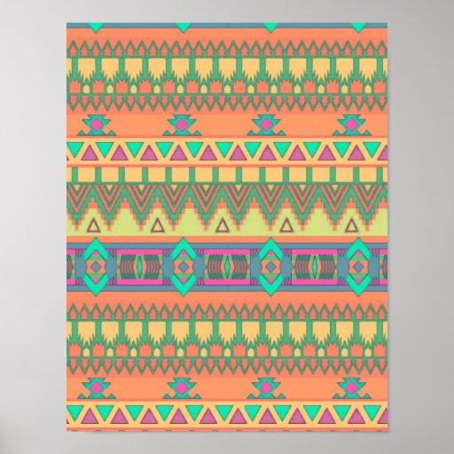 Colorful Chevron Zig Zag Tribal Aztec Ikat Pattern Posters