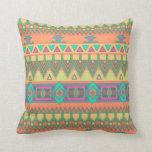 Colorful Chevron Zig Zag Tribal Aztec Ikat Pattern Throw Pillow