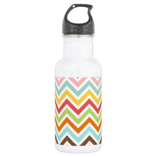 Colorful Chevron Zigzag Stripes Pattern 18oz Water Bottle