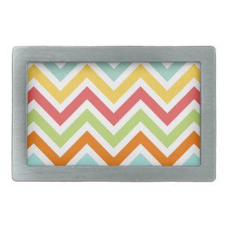 Colorful Chevron Zigzag Stripes Pattern Belt Buckle