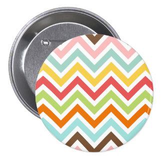 Colorful Chevron Zigzag Stripes Pattern Button
