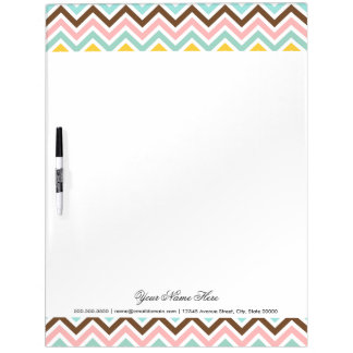 Colorful Chevron Zigzag Stripes Pattern Dry-Erase Whiteboards