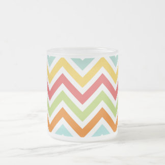 Colorful Chevron Zigzag Stripes Pattern Frosted Glass Coffee Mug