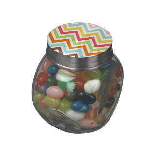 Colorful Chevron Zigzag Stripes Pattern Glass Candy Jars