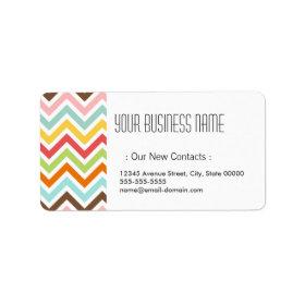 Colorful Chevron Zigzag Stripes Pattern Custom Address Label