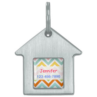 Colorful Chevron Zigzag Stripes Pattern Pet ID Tag