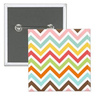 Colorful Chevron Zigzag Stripes Pattern Pinback Button