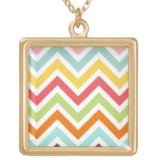 Colorful Chevron Zigzag Stripes Pattern Square Pendant Necklace