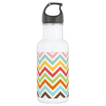 Colorful Chevron Zigzag Stripes Pattern Stainless Steel Water Bottle