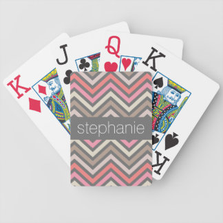 Colorful Chevrons Pink Coral Gray Custom Name Bicycle Playing Cards