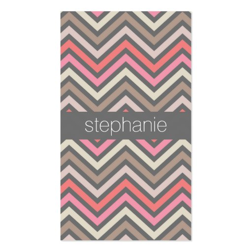 Colorful Chevrons Pink Coral Gray Custom Name Business Card Templates