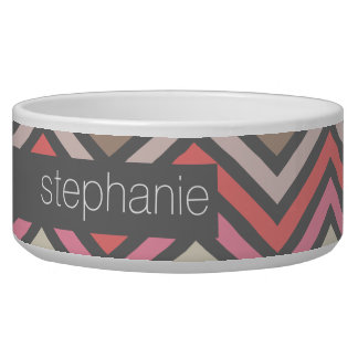 Colorful Chevrons Pink Coral Gray Custom Name Dog Water Bowl