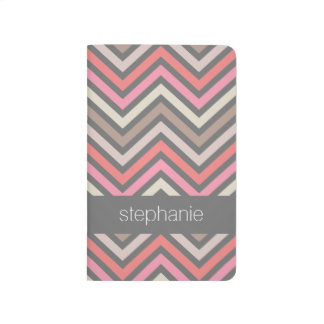 Colorful Chevrons Pink Coral Gray Custom Name Journal