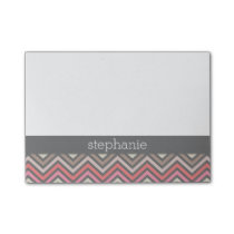 Colorful Chevrons Pink Coral Gray Custom Name Post-it Notes