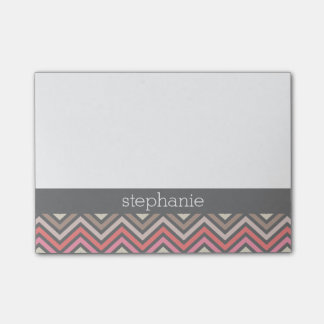 Colorful Chevrons Pink Coral Gray Custom Name Post-it® Notes
