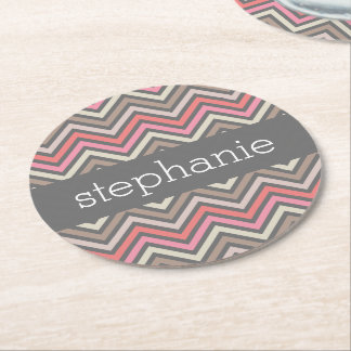 Colorful Chevrons Pink Coral Gray Custom Name Round Paper Coaster