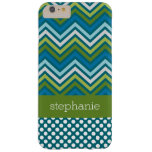 Colorful Chevrons Polka Dots and Blue Green Name Barely There iPhone 6 Plus Case