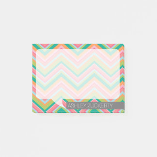 Colorful Chevrons Talk Bubble Personalized Name Post-it Notes