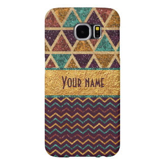 Colorful Chevrons Triangles Faux Glitter Gold Foil Samsung Galaxy S6 Case