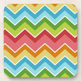 Colorful chevrons zig zag stripes pattern coaster