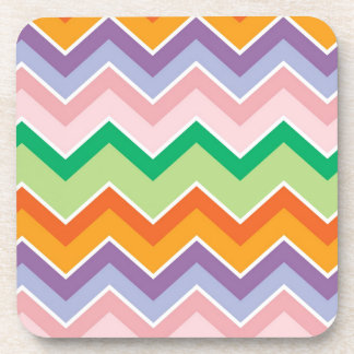 Colorful chevrons zig zag stripes pattern coasters