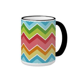 Colorful chevrons zig zag stripes pattern ringer coffee mug