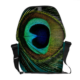 Colorful Chic Photography Peacock Feather Photo Messenger Bag