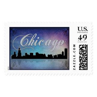 Colorful Chicago, Illinois skyline Postage