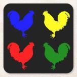 Colorful Chicken Square Paper Coaster at Zazzle
