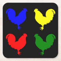 Colorful Chicken Square Paper Coaster
