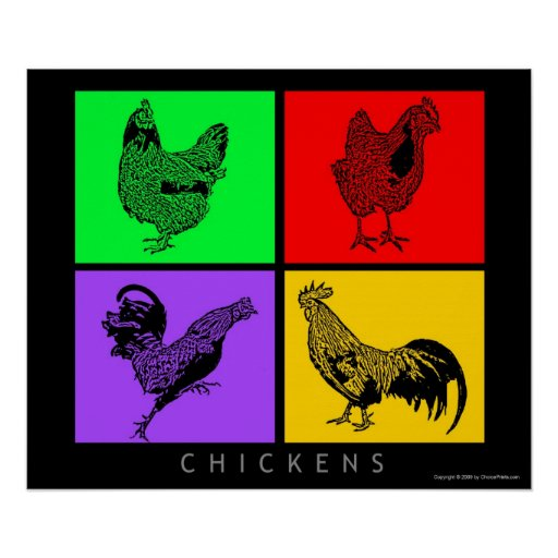 Colorful Chickens Poster