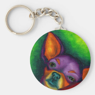 Colorful Chihuahua Basic Round Button Keychain
