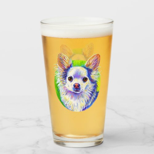 Colorful Chihuahua Dog Drinking Glass Cup