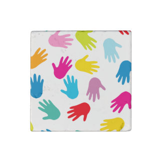 Colorful Child Handprints Stone Magnet