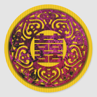 colorful chinese double happiness wedding stickers