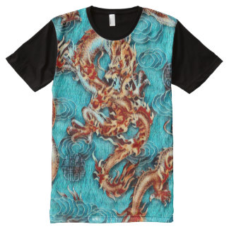 Colorful Chinese Emperor Dragon Acrylic Paint All-Over-Print Shirt